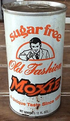Vintage Sugar Free Moxie Old Fashion Soda In White Can With Pull Tab Top Intact