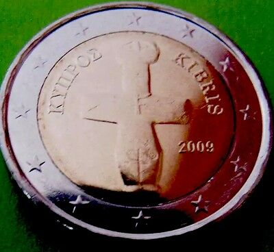 Cyprus 2 Euro Coin 2009 Kibris New Fertility Statue Neolitic From Roll BUNC