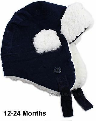 JOHN LEWIS Baby Boys CORDUROY Cap TRAPPER HAT Soft Warm NAVY CREAM 12-24 months