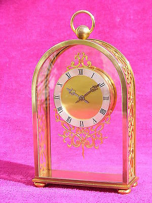 Pendulette Hour Lavigne Angelus SF190 8 days 15 jewels bronze doré clock horloge