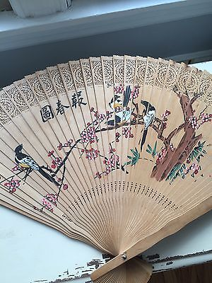 antique japanese hand painted fan