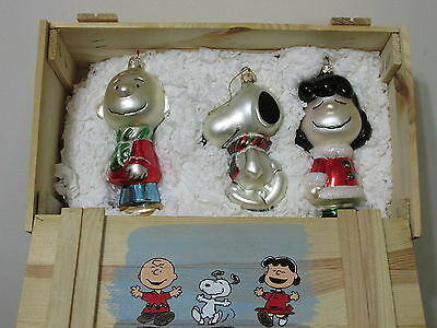 Snoopy Peanuts Charlie Brown Kurt Adler Polonaise Glass Christmas Ornament Set
