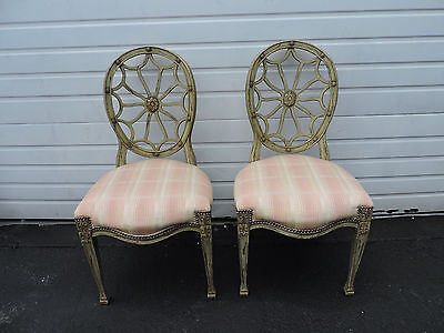 Hollywood Regency Pair of Dining Side Chairs by John Widdicomb Furniture 8377