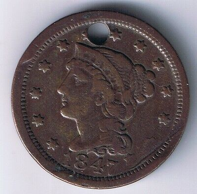 1847 Large Cent Copper Coin Holed Details grade