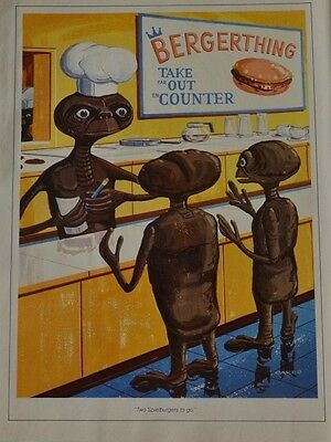 1982 ET Alien Hamburger Spielburgers Take Out Counter Drawing   Vintage Print Ad