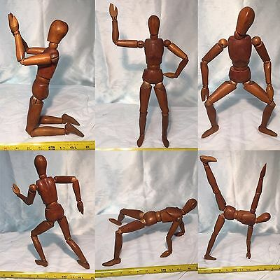 "VTG 16"" carved artists model articulated MANNEQUIN wood Brass Fittings folk art"