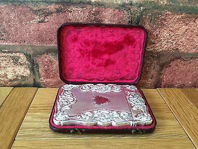 Antique Silver 1899 Victorian Cronin & Wheeler Floral Scroll Card Case & Box