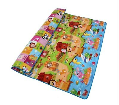 Reversible Kids Activity Mat Baby Care Play Mat Monopoly+ Car Game