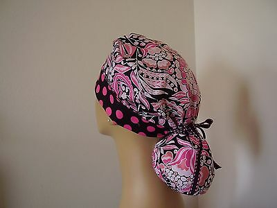 Ponytail Pouch Scrub Hat- Pink/Black Floral/Dots -One size