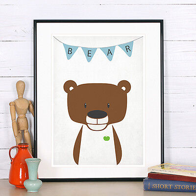 Bear, Animal nursery art, Woodland animals, Nursery decor, Nursery animal