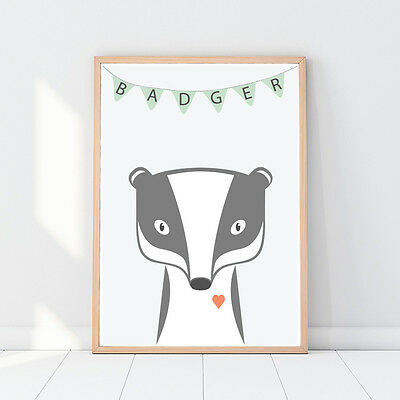 Badger, Animal nursery art, Woodland animals, Nursery decor, Nursery animal