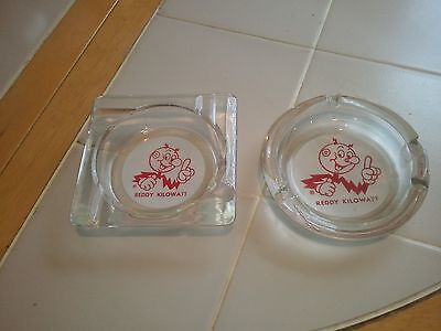 Rare Vintage Lot of 2 Glass Reddy Kilowatt Ashtrays