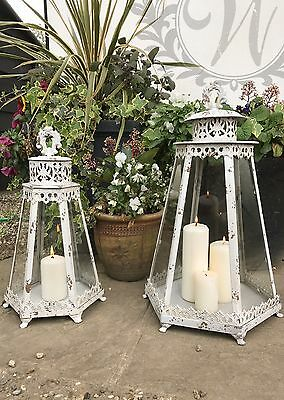 Set of 2 Tea Light Lantern Holder Candle Style Garden Antique French Vintage