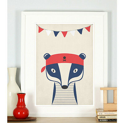 Nautical nursery decor, Badger, Nautical theme, Nursery art print, Animals