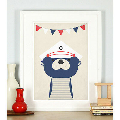 Nautical nursery decor, Otter, Nautical theme, Nursery art print, Sailor