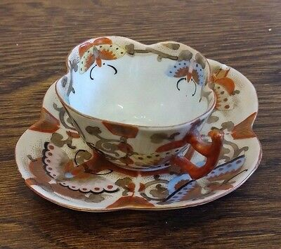 Antique Japanese Kutani Cup Saucer Eggshell -19th 19C - Estate Sale