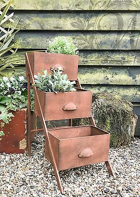 Metal Plant Stand Rustic Flower Herb Pots Trough Outdoor Distressed Vintage Rust