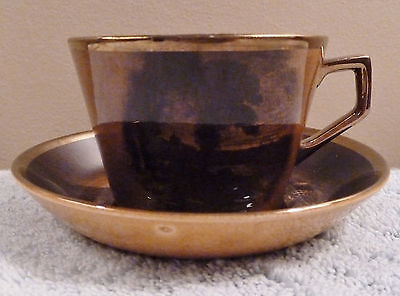 Vintage Ridgway sepia amber brown gold Royal Vistas Ware cup and coupe saucer