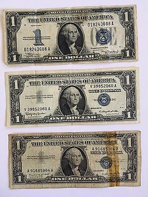 """1934  $1 Silver Certificate  """"Funny Back"""" + 2 Other Silver Certificates"""