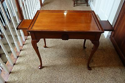Vintage Solid Mahogany Queen Anne Style Tea Table w/Pull-Outs
