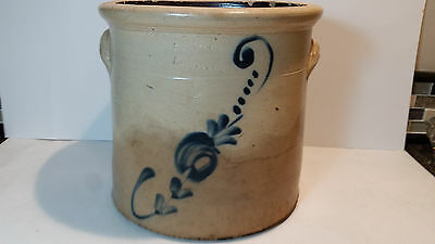 Antique 2 Gal Stoneware Crock Decorated Floral Cobalt Blue Signed -Maryland?