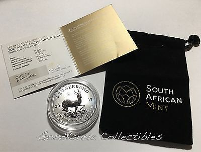 2017 South African 50th Anniv 1st Ever 999 SILVER KRUGERRAND Reverse Proof UNC