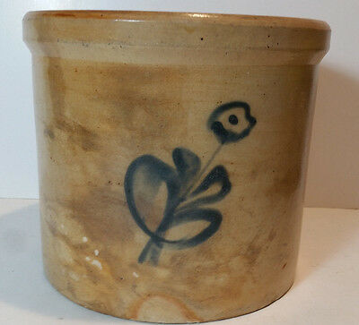 Antique 1 Gal Stoneware Crock Decorated Flower Design Cobalt Blue -Maryland?