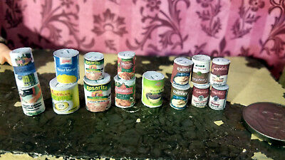 Kitchen Canned Food Pantry Items Soup Accessories 15pc Dollhouse 1:12 Miniature