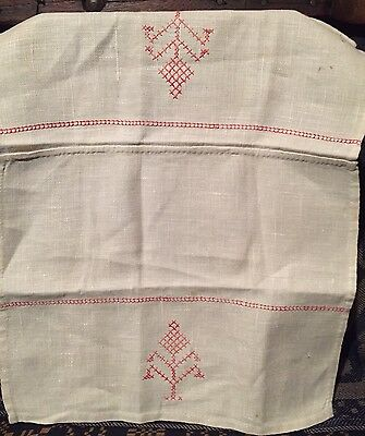 Antique Primitive Folky Redwork Cross Stitch Embroidery Sampler on Linen AAFA