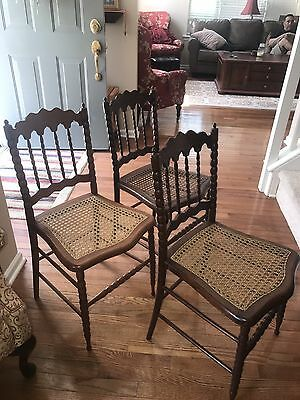 Set 3 Antique Spindle Caned Seat Walnut Wooden Chairs French Vintage Decor