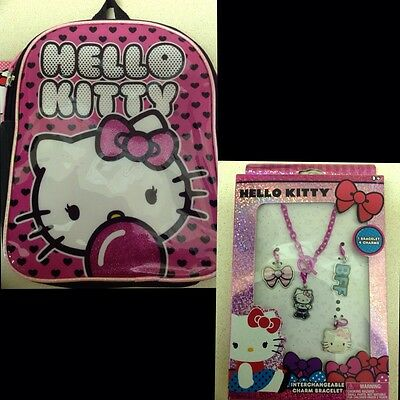 Hello Kitty - Mini Backpack + Interchangeable Charm Bracelet 10""