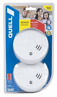 Smoke Alarm twin pack  Fire Detector Quell Photoelectric Worry Free Intelligent