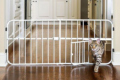 Baby/ Pet Gate With Pet Door Adjustable Safety Fence Small Dog, Cat, Wide Walk