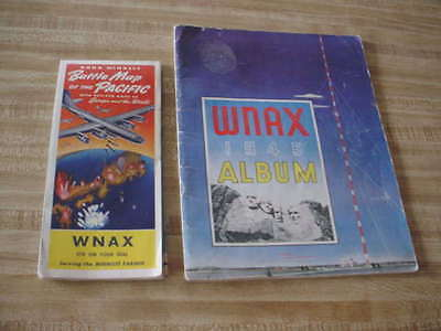 WNAX YANKTON S. DAKOTA ALBUM & BATTLE OF PACIFIC MAP 1940's