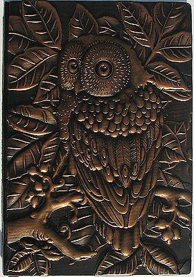 "Durable Vintage Leather Embossed Leather Journal Notebook Owl 8.5"" x 5.7"""