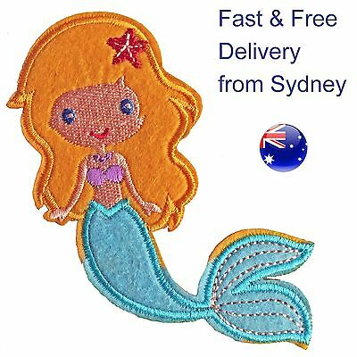 Blond Mermaid Iron on patch - Fast & free delivery embroided marine fairy t