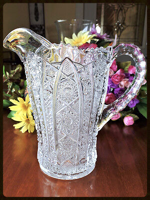 """Antique/Vintage Stunning Glass Pitcher With Diamond Ornate Handle 8"""" tall  EUC"""