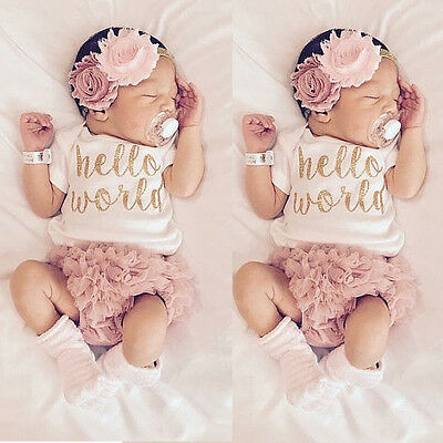 Newborn Baby Girls Outfit Clothes Romper Jumpsuit Bodysuit+Lace Pants UK Stock