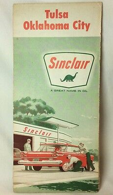 1961 Sinclair Oil Co Gas Station Tulsa And Oklahoma City Road Map, Rand McNally