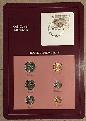 Six Coin Set Uncirculated HONDURAS 1957-1980 Coins Of All Nations
