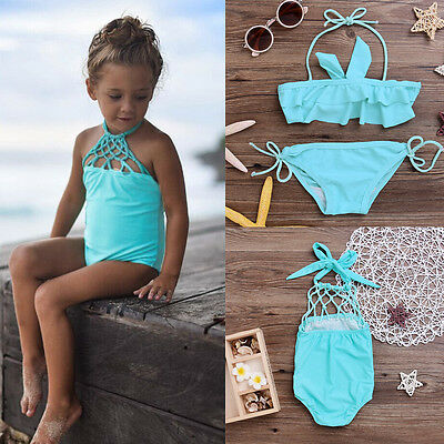 UK Stock Baby Girl Kid Bathing Suit Swimwear Bikini Set Tankini Swimsuit Costume