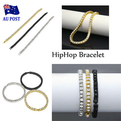 14k Gold Filled 1 ROW Lab Diamond Iced Out Chain Unisex HipHop Bracelet  MN