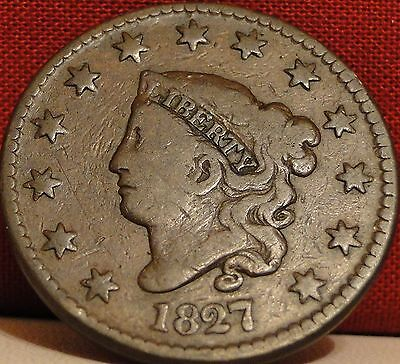 Circulated 1827 Coronet Head Large Cent