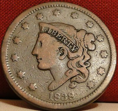 Circulated 1838 Coronet Head Large Cent