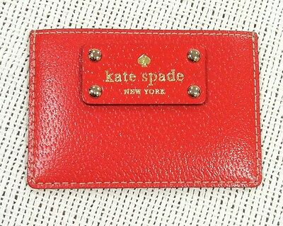 Nwot Kate Spade New York Red/nude Leather Credit Card Id Holder Wallet Case
