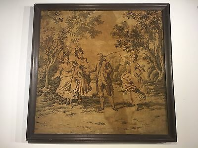 antique sampler Godey framed Textile Shows Age And Stain. French Scene