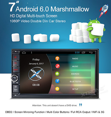 """7"""" Android 6.0 Marshmallow HD Digital Multi-touch Screen 1080P Video Double Din"""