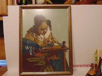 "Framed Needlepoint Picture Of A Woman Doing Needlepoint 21"" x 15 1/2"" x 1 1/2"""