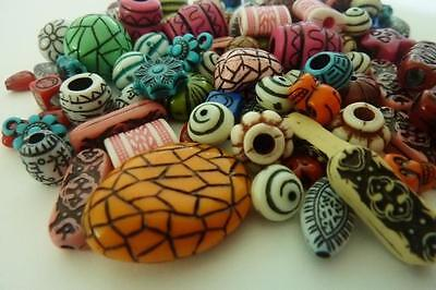 100 pce Mix Vibrant Antique Style Acrylic Beads 7mm - 25mm Jewellery Making