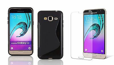 Black S-Line Tpu Case+Tempered Glass For At&t Samsung Galaxy Express Prime